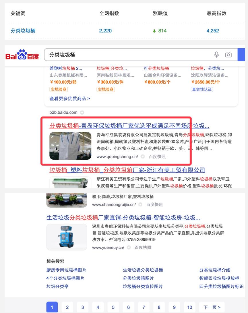 分类垃圾桶关键词seo推广妥妥的首页